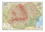 Romania si Republica Moldova Harta fizica, administrativa si a bustrantelor minerale utile (fata) Harta contur (verso) 600x470mm